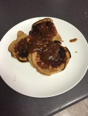 Banana and peanut butter pancakes with a peanut butter and maple syrup glaze -- 3 times a day
